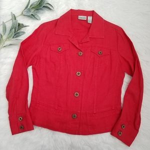 CHICO'S Red Lightweight Jacket Size 0